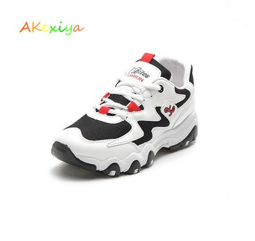 AKexiya Thick-soled new low-cost Ms. running shoes autumn student tennis shoes green mens sports shoes