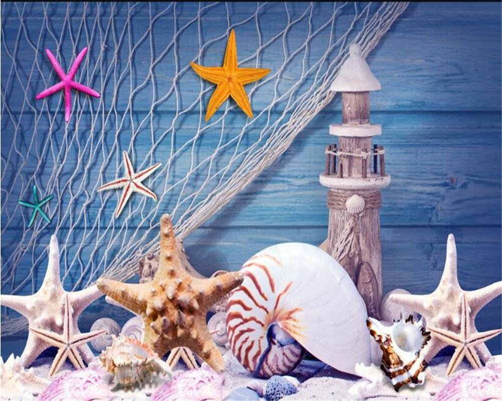 Beibehang 3D Wallpaper Blue Mediterranean Style Fishing Net Lighthouse Shells Tooling Background Walls Living Room TV Mural beibehang blue brick mediterranean style
