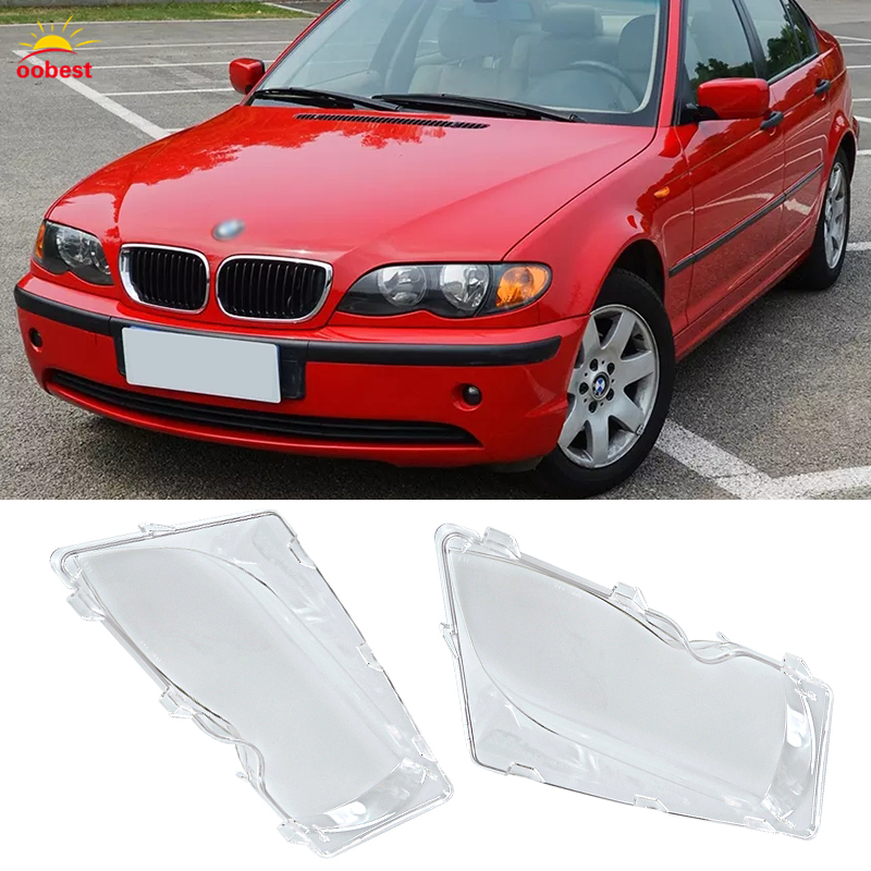 1 Pair Left & Right Front Headlight Lens Lamp Cover for BMW E46 3-series 01-06 Great High Quality Car-styling front left