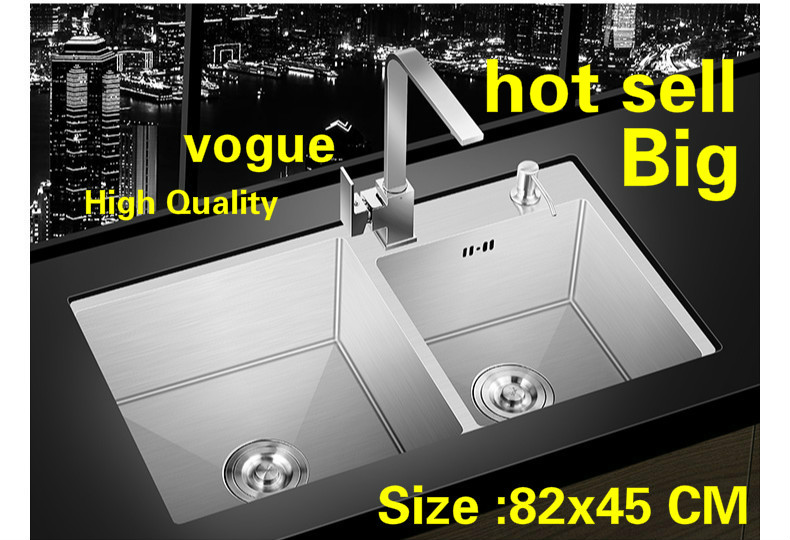 Free Shipping Apartment 304 Stainless Steel Kitchen Manual Sink Double Groove Vogue Do The Dishes Hot Sell Large 820x450 MM