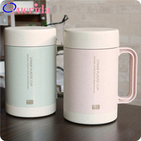 High Quality 350mL Wheat Straw Ceramic Liner Portable Double Layer Dust Free Lid Plastic Outdoor Drink