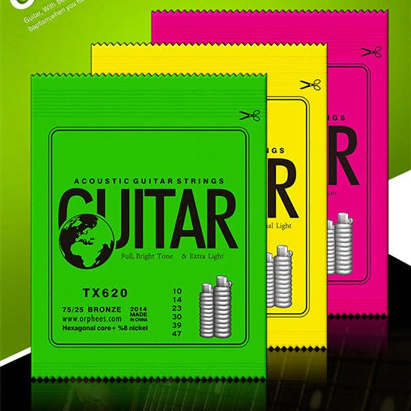 1 Set 6pcs ACOUSTIC Guitar String Hexagonal Core+8% Nickel FULL,Bronze Bright Tone& Extra Light Extra Light Medium