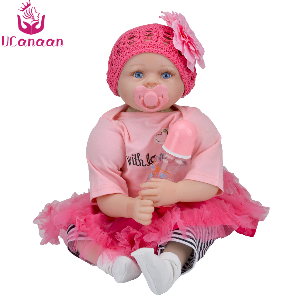 UCanaan 22 Inch Reborn Baby Doll Lifelike Silicone Realistic Dolls Blue Eyes Cloth Body Newborn Babies Toys for Girls цены