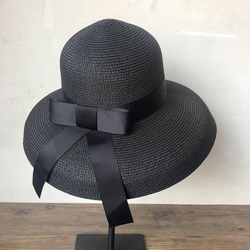 New Product Fashion Sun Hat Women's Summer Bow Straw Hats For Women Beach Headwear Chapeau Femme Hepburn Hats Black