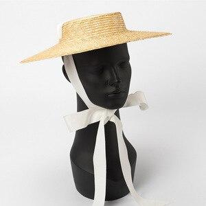 Image 5 - רחב ברים מגבעת כובע 10cm 15cm אפס מקום קש כובע שטוח נשים קיץ קנטאקי דרבי כובע לבן שחור סרט עניבת שמש כובע חוף כובע