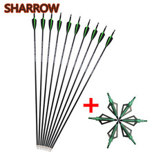 6/12Pcs 30Archery Carbon Arrows SP 500 Replaceable Screw Arrow Points With Broadhead For Outdoor Hunting Shooting Accessories
