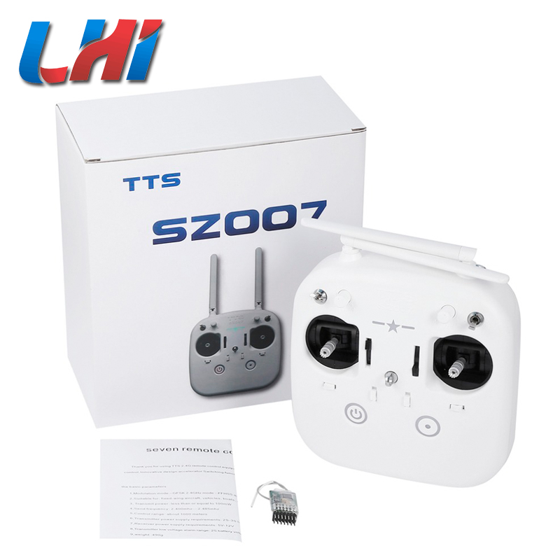 TTS 2.4G 7CH Remote Control Transmitter with Receiver for Fixed-wing Aircraft Vehicles Boats Multi-color Aircraft White f2s flight control with m8n gps t plug xt60 galvanometer for fpv rc fixed wing aircraft