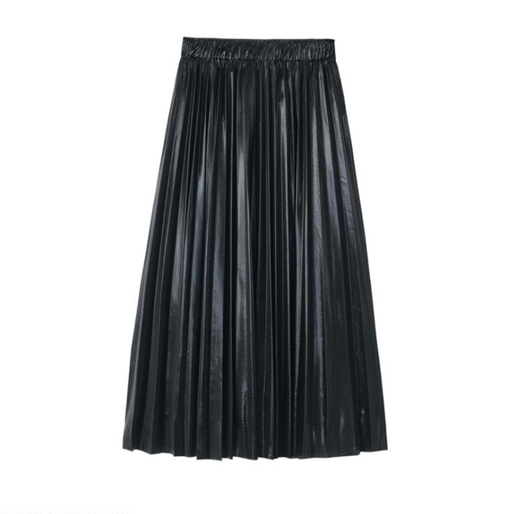 HTB1UrezU6TpK1RjSZKPq6y3UpXaa - Autumn Women Pleated Skirt Elegant High Waist Women Long Skirt Ladies Silver Gold Metallic Shiny Ankle-Length Maxi Skirt