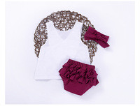 INS Summer Kids 3PCS Set Girls Tops Bread Pants Headband Suit Baby Fashion Cute Children S