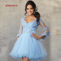 Sky Blue Short Lace Homecoming Dresses Long Sleeve 8th Grade Graduation Dresses Party Short Cocktail Prom Dresses