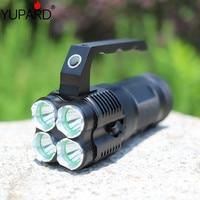 YUPARD camping outdoor Helle Taschenlampe Rampenlicht Suchscheinwerfer 4 * CREE XM L T6 LED + 4*18650 akku + ladegerät-in LED-Taschenlampen aus Licht & Beleuchtung bei