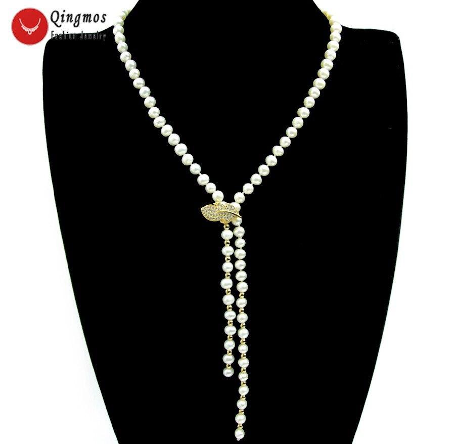 Qingmos collier de perles naturelles pour femmes avec AA 6-7mm rond blanc perle Long collier bijoux et feuille d'or Zircon fermoir ne6514