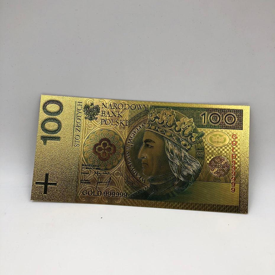 1 шт. unised 1994 Edition Poland Currency designed цветной 24 K позолоченный банкнот 500 PLN для банка подарочные сувениры - Цвет: 100PLN2017colored