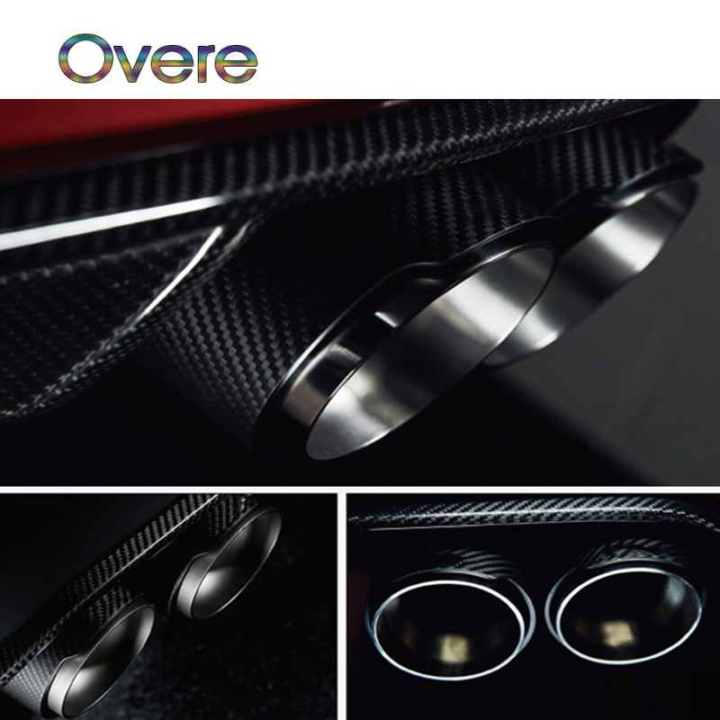Overe 1PC Carbon Fiber Car Exhaust Pipe M performance Styling For BMW 1 2 3 4 5 6 7 Series F30 F20 E81 E87 E90 E36 Accessories exhaust tips on jaguar xe