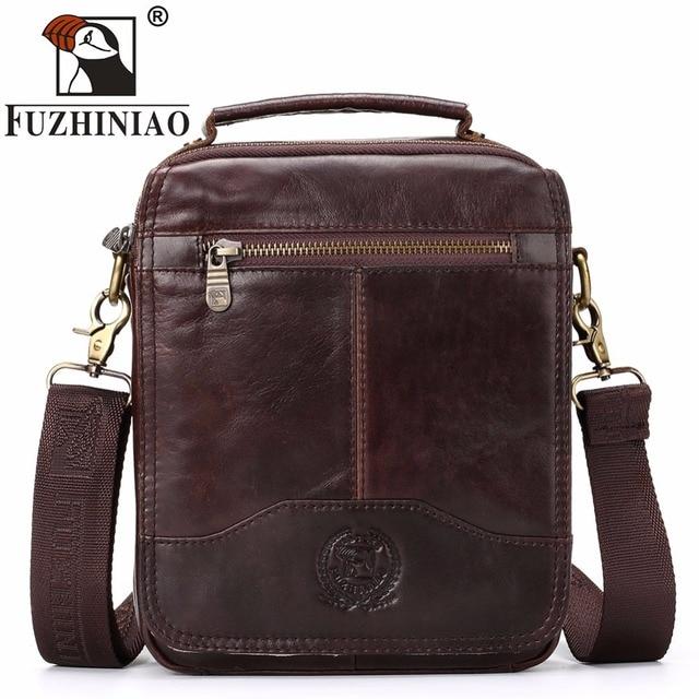1fde24ff6d FUZHINIAO Handbags Men s Small Bag Brand Design Male Genuine Leather  Messenger Bags 2018 New Promotion Men Travel Shoulder Bags
