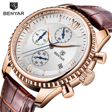 BENYAR 2018 Gold Watch Sports Men Top Brand Luxury Pilot Military Quartz Watches Man Clock Chronograph Relogio Masculino