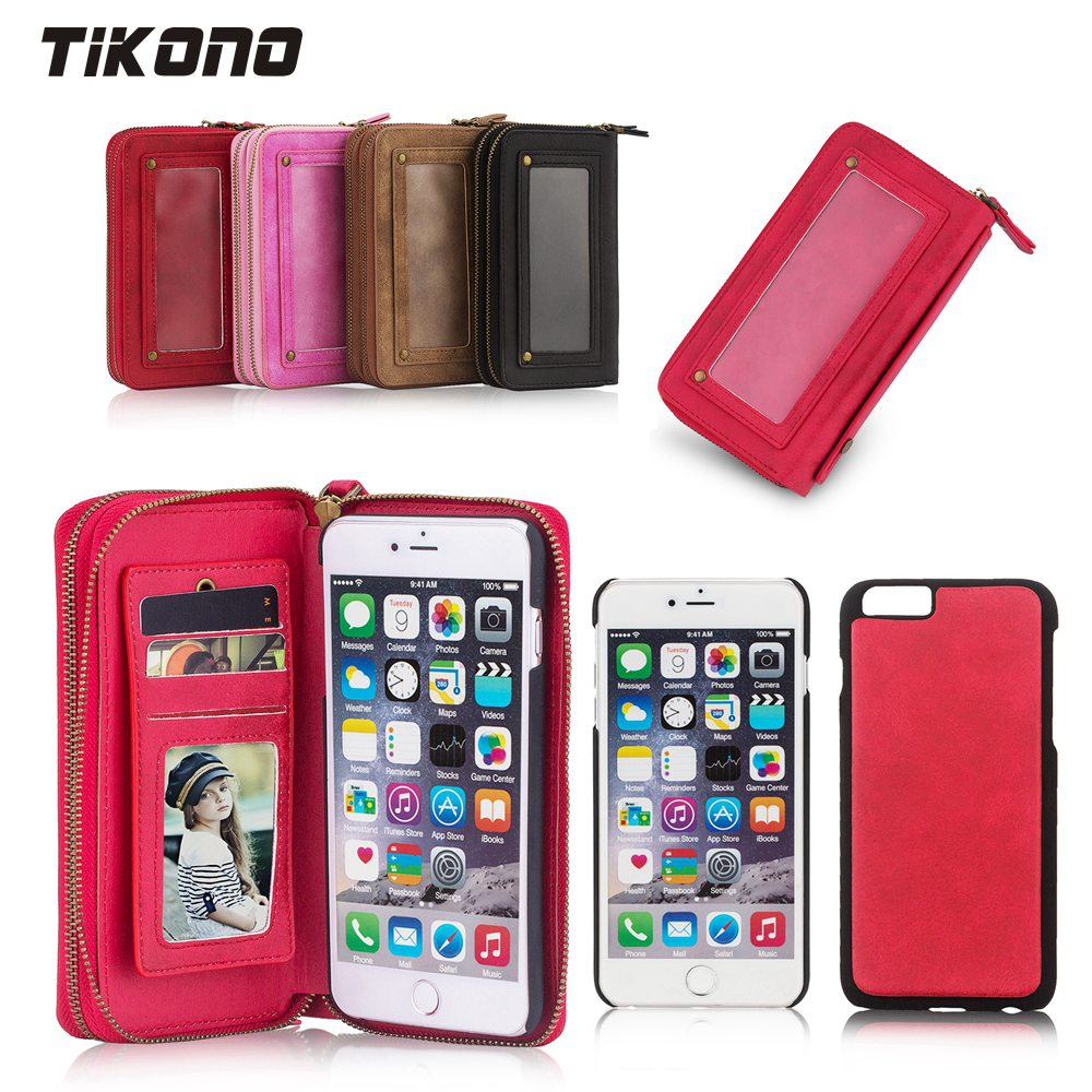Цена за Многофункциональный бумажник leaher слот для карты Чехол для iPhone 6 6 S 6 плюс 6 s p молнии кошелек Чехол телефон сумки леди крышка