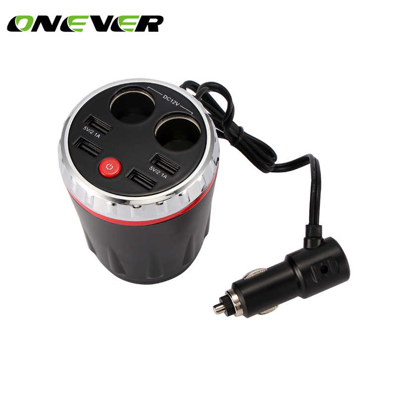 Auto lighter socket Car Charging Cup 4 USB Port 5V 2.1A Intelligent Charging LED Digital Display Power Adapter Cup