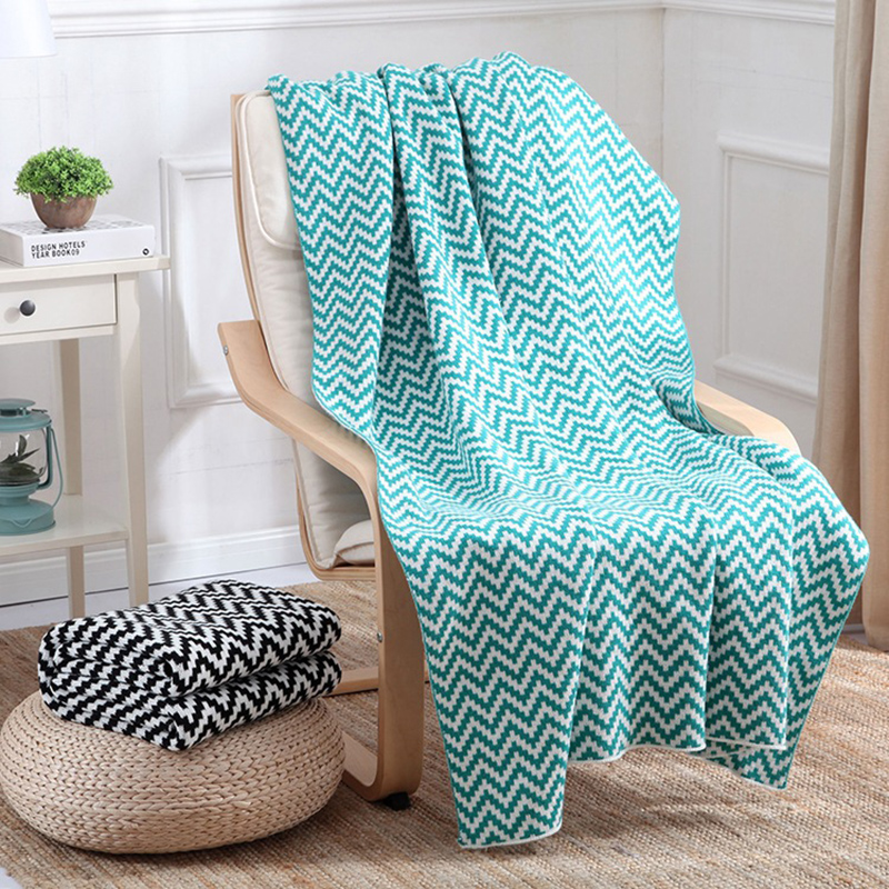 Acrylic 130x170cm Knitted Throw Travle Blanket Zigzag Green Black Sofa Throw Blanket Air Condition Blanket