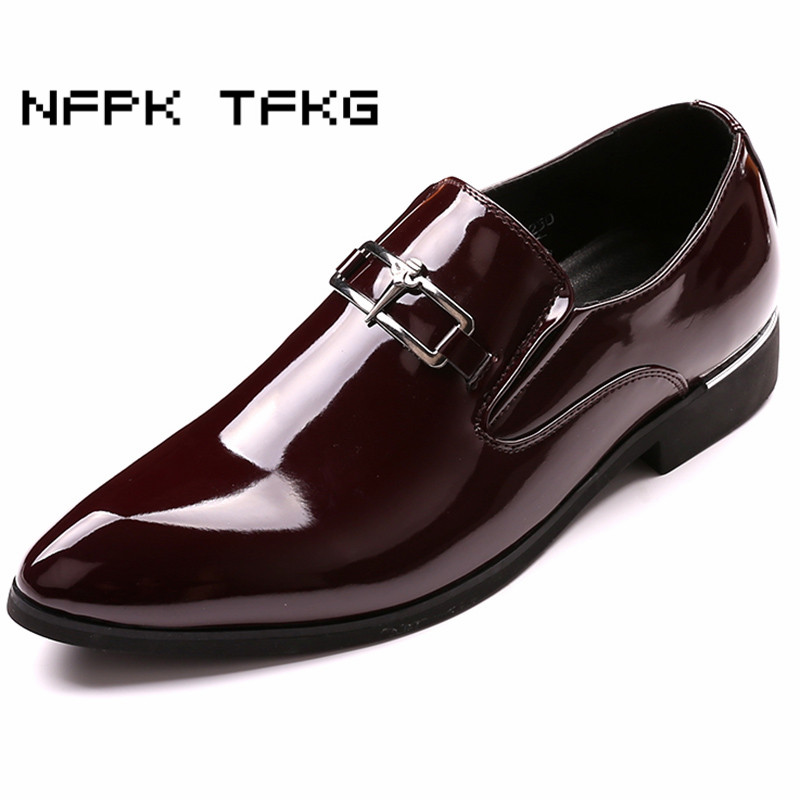 large size mens fashion business office wedding formal dresses patent leather shoes slip on lazy oxfords shoe pointed toe loafer new arrival gold wedding shoes for men large size patent leather mens loafers square toe slip on party and banquet shoe flats