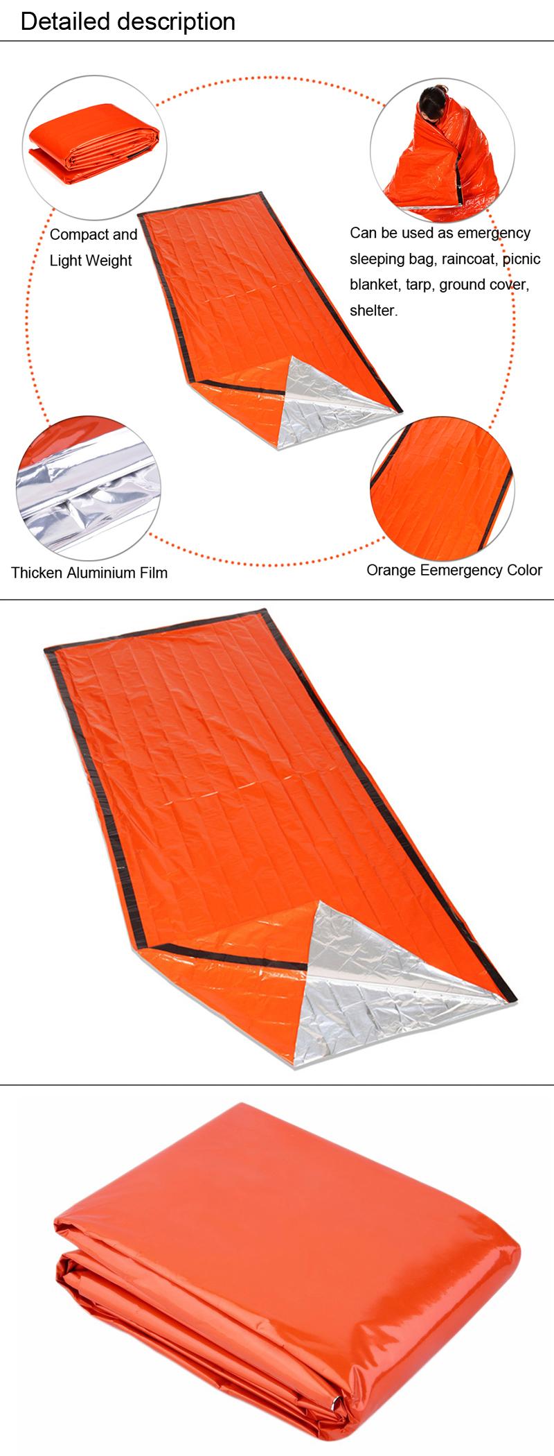 Emergency Sleeping Bag Orange Thermal Reflective Survival Blanket  Ultralight Outdoor Body Heat Retention Emergency Tool