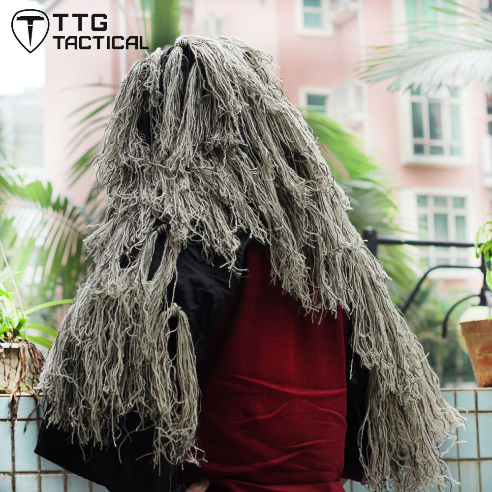 TTGTACTICAL Tactical Sniper Ghillie Suit Jacket Camouflage Ghillie Foundation with Burlap Airsoft Paintball Hunting Ghillie Hat airsoft adults cs field game skeleton warrior skull paintball mask