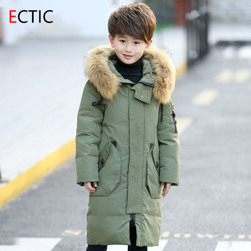 Winter boys duck down ECTIC jacket thicken Children jackets boy long thicken overcoat outerwear big fur collar hooded parkas boys down jacket boy winter coats jackets boy 100% white duck down jacket russia winter boys down jacket 30