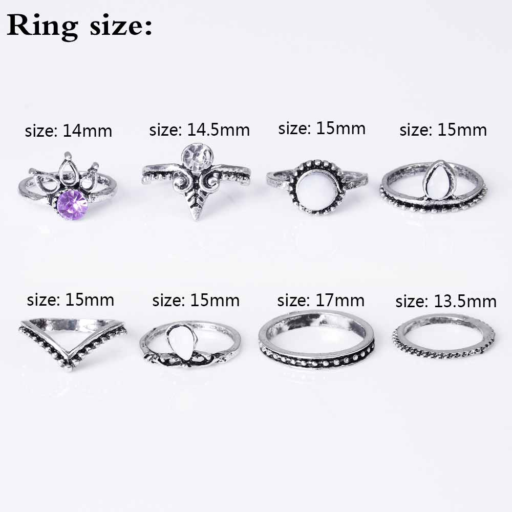 HTB1UrfvRpXXXXccXVXXq6xXFXXXD 8-Pieces Bohemian Vintage Retro Lucky Stackable Midi Ring Set For Women - 2 Colors