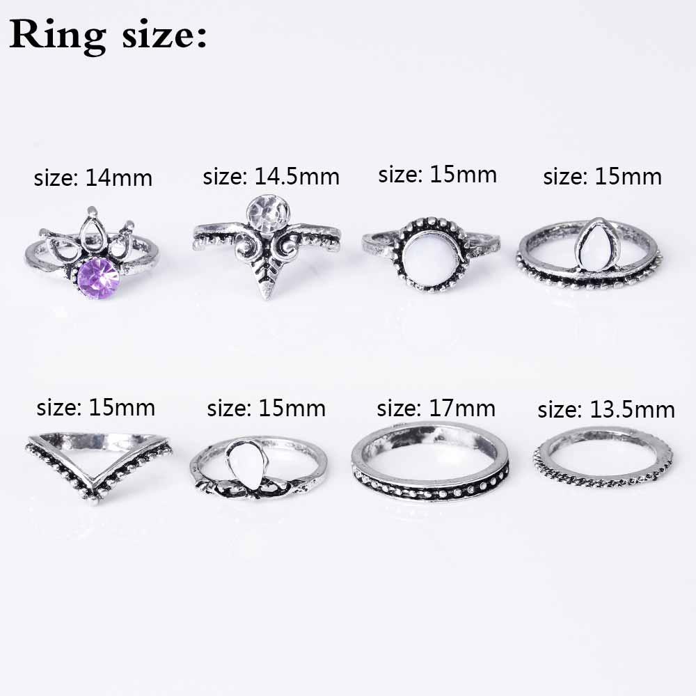 HTB1UrfvRpXXXXccXVXXq6xXFXXXD 8-Pieces Bohemian Vintage Retro Lucky Stackable Midi Ring Set For Women - 2 Colors