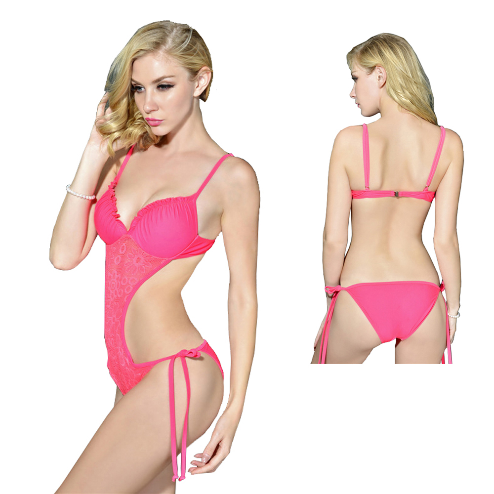 One Piece Swimsuit Pink Sexy Crochet 2017 Strappy High Waist Swimwear Women Bodysuit Leotard Bathing Suits Monokinis Hollow Out fashionable strappy printed cut out one piece swimsuit for women