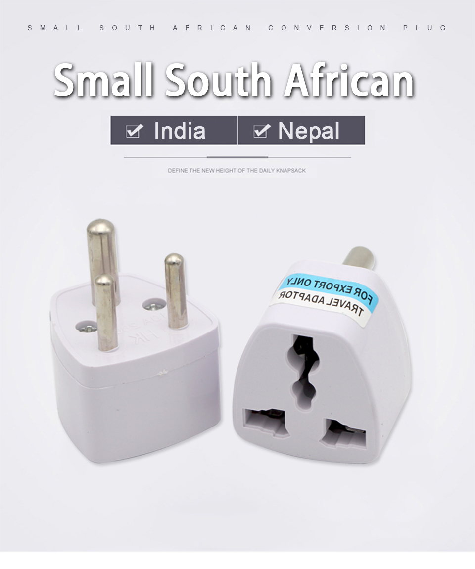1pc 3 Pin Universal Uk Us Eu Au To Small South Africa Plug India Travel Converter Adaptor Ac Multi Outlet Adapter Socket