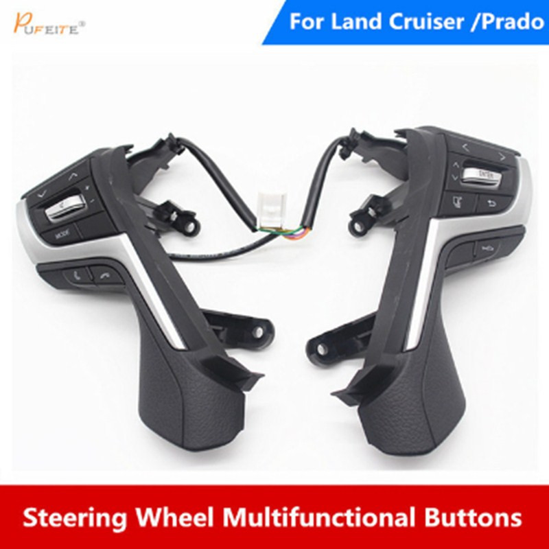 Steering Wheel Switches buttons Auto parts For Toyota Land Cruiser Prado 2018 Multi-function steering wheel button with cables new power steering pump for toyota land cruiser 1001hd hdj100 02 05 44310 60420 44310 60420