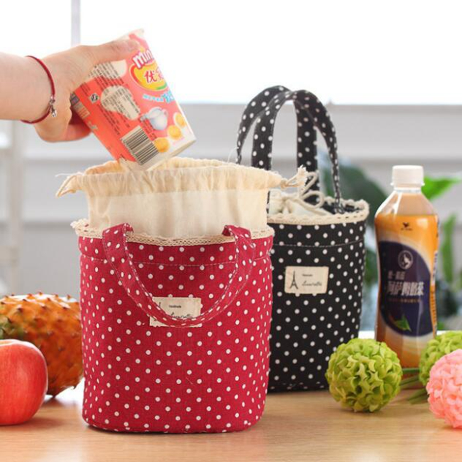 Casual Portable Lunch Bag Dots Insulated Canvas Thermal Food Picnic Lunch Bags For Women Kids Cooler Lunch Box Bag Tote aequeen thermal lunch bag for kid cute flamingo picnic boxes canvas cartoon animal printing food cooler bags insulated tote