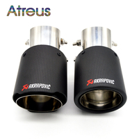 1PC Universal Akrapovic Tips Carbon Fiber Exhaust Pipe Modified For Ford Toyota Renault Opel Automobiles Car