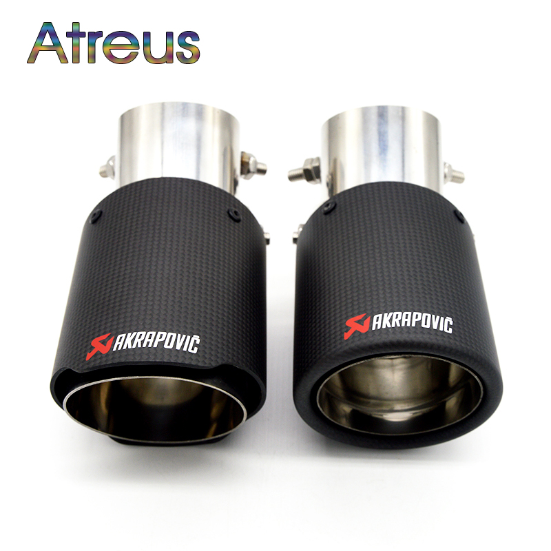1PC Universal Akrapovic Tips Carbon Fiber font b Exhaust b font Pipe Modified For Ford Toyota