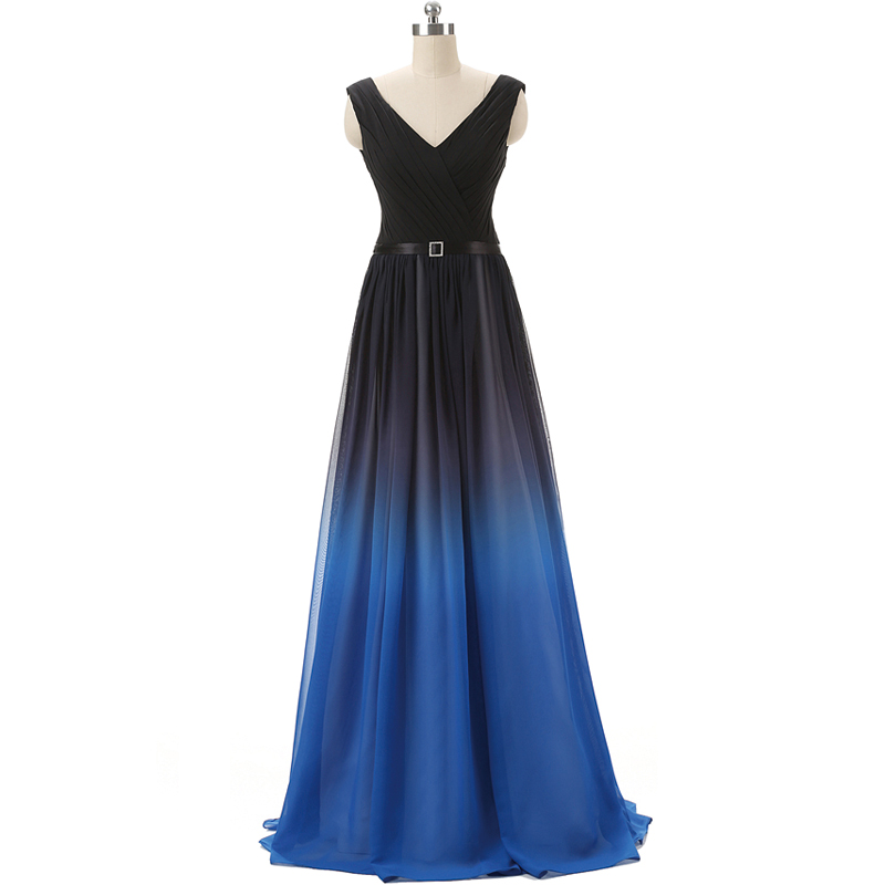 Plus Sizes Gradual Color chiffon Evening dresses sexy off Shoulder v neck A Line woman evening
