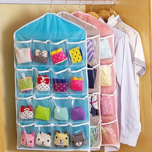 Transparent Sorting Storage Bag 16 Pockets Hanging Organizer Socks Underwear Closet