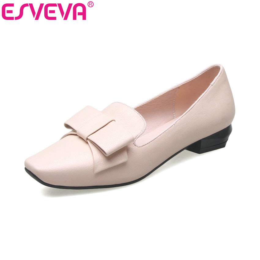 ESVEVA 2017 Pink Wedding Shoe Real Leather Women Pumps Square Toe Party Shoes Spring Square Low Heel OL Work Shoes Size 34-39 new 2016 factory matte shoe women pointed toe red bottom low heel pump lady single ol work career spring fall shoes 678 2suede