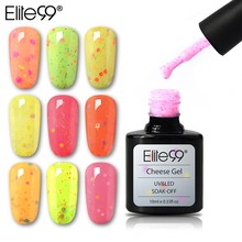 Elite99 10ml Cheese Candy UV LED Gel Polish Top Base Coat Needed Soak Off Nail Lacquer Gel Varnish Semi Permanent Nail Polishes(China)