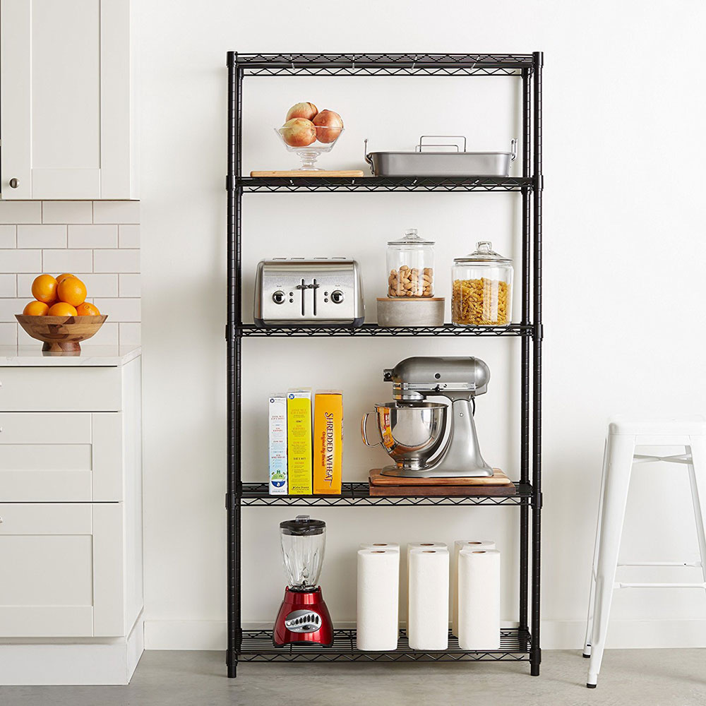 US $37.99 |4/5 Tier Storage Rack Organizer Kitchen Shelving Steel Wire  Shelves Black/Chrome Only Ship to US-in Storage Holders & Racks from Home &  ...