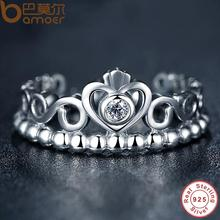 BAMOER 925 Sterling Silver My Princess Queen Crown Engagement Ring with Clear CZ Authentic Sterling-Silver-Jewelry PA7110