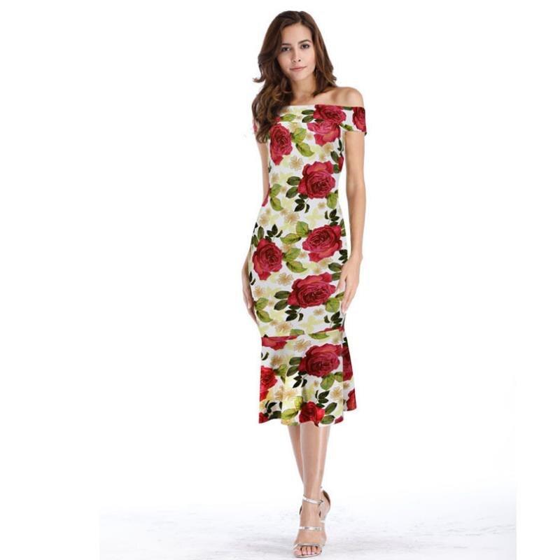 ENLU Summer Off Rameno Fishtail Dress Květinový tisk Boho Beach Dress Dámské večerní společenské šaty Sundress Vestidos de festa