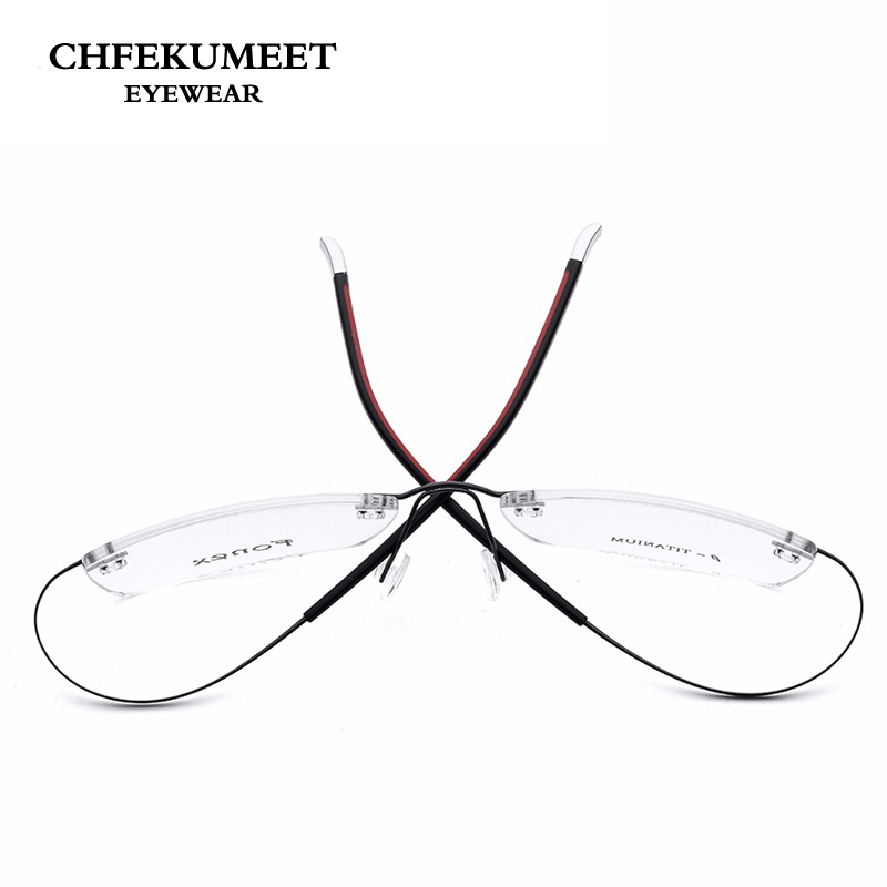 CHFEKUMEET 10g Super Lightweight Titanium Rimless Glasses Frame Myopia Optical Frame Unisex Flexible Frameless Eyeglasses Frames