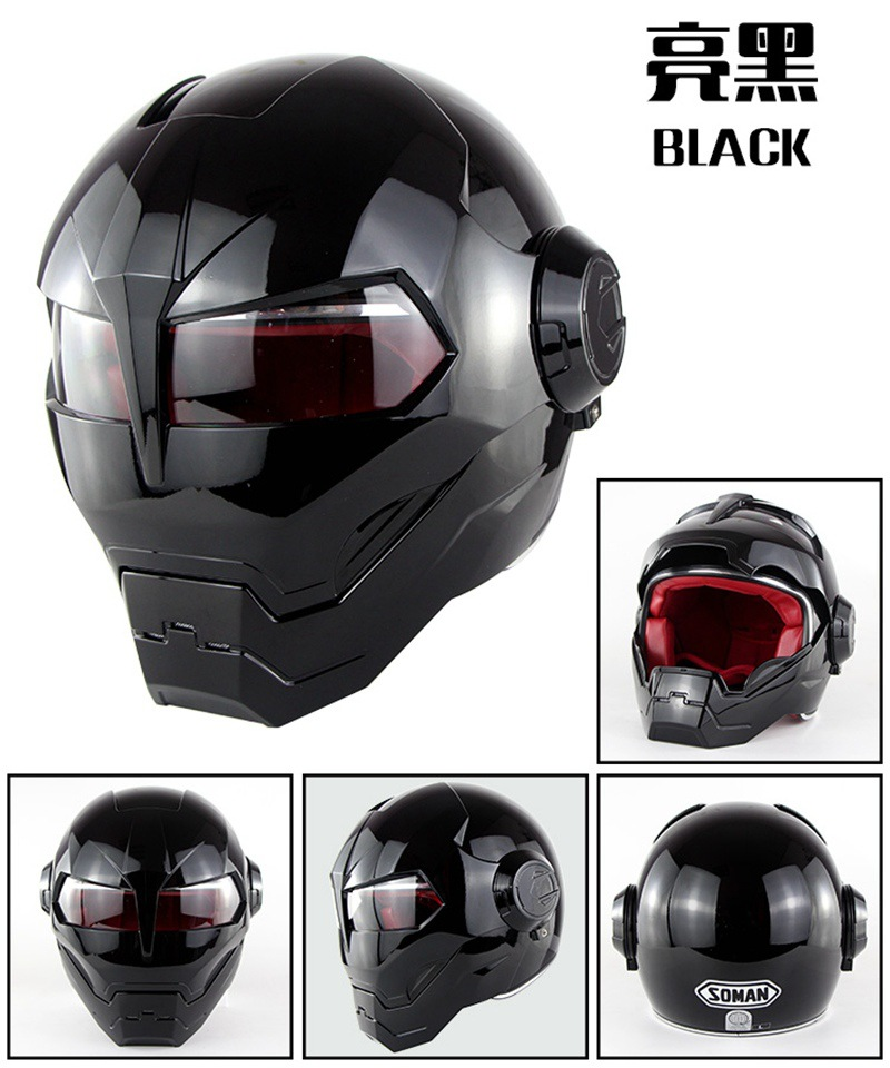Motorcycle Helmet Full Face Helmet Iron Man Helmet High Quality Helmet All Gloss Black Or All Matt Black Color masei mens womens war machine gray ironman iron man helmet motorcycle helmet half helmet open face helmet abs casque motocross