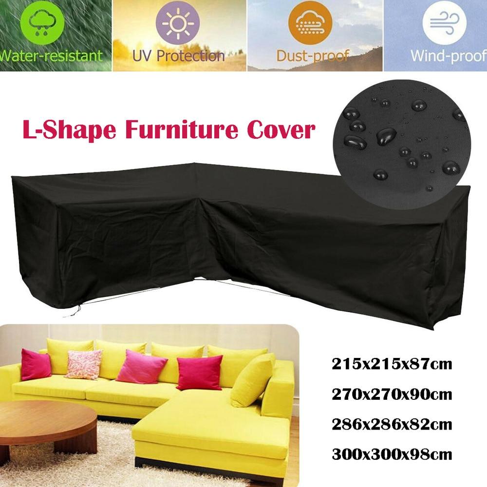 Rattan Garden Furniture Sofa Black Shape L Dust Waterproof Protection Cover Case