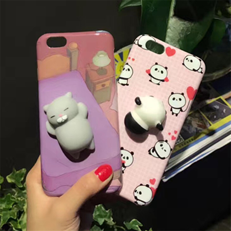 Squishy Cat Belly Phone Case : Cute 3D Squish Finger Pinch Case For iPhone 6 6S 7 Plus Cases Silicon Cartoon TPU Cover Kneading ...