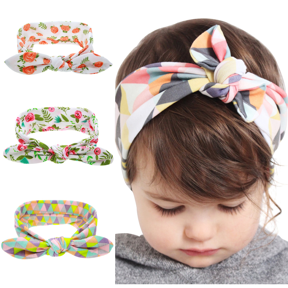 Fashion Printed Flower Floral Hairband Turban Rabbit Bow knot Headbands Headwear Hair Band Accessories KT060 1 pc women fashion elastic stretch plain rabbit bow style hair band headband turban hairband hair accessories