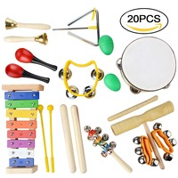 20PCS Percussion Drum Set Early Learning Toys Rattle Sand Hammer Drum Toy Set For Baby Kids