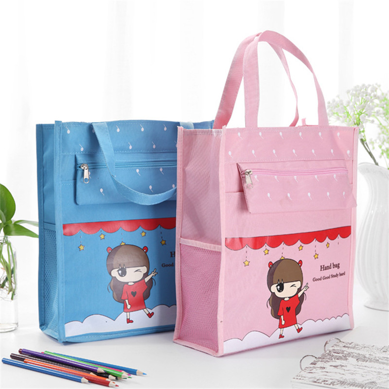 Commercial Business Document Bag A4 Tote File Folder Filing Meeting Bags Side Zipper Pocket Office Bags Protable Canvas