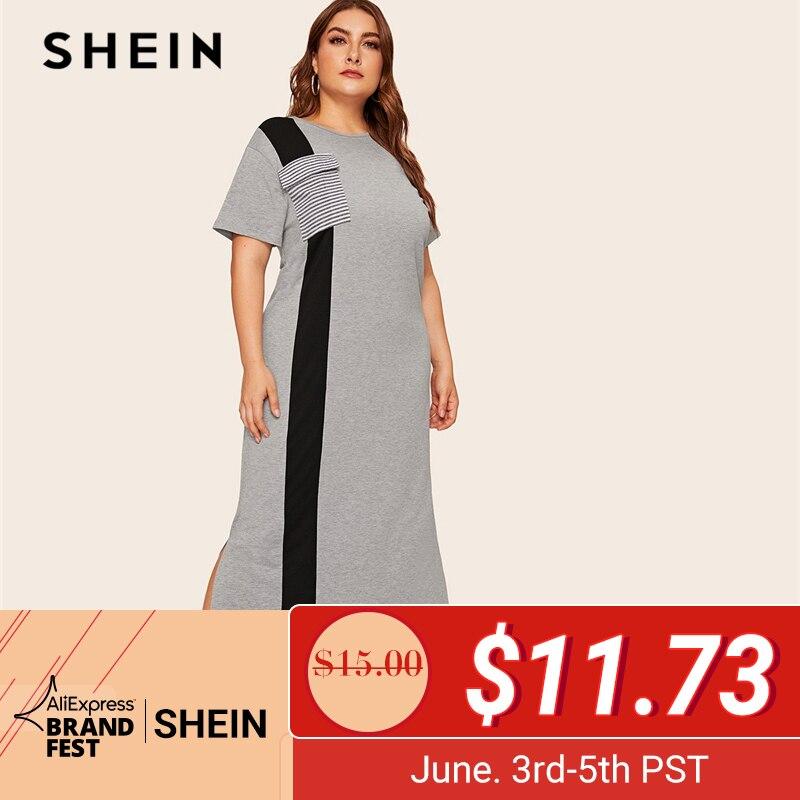 SHEIN Абаи плюс Размеры Colorblock (цветовой блок), в полоску, боковым карманом Разделение сбоку длинное платье Для женщин летние 2019 туника с коротк...